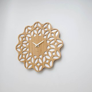 LOO Bamboo Wood 60s Retro Floral Wall Clock White