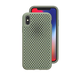 AndMesh-iPhone Xs Max dot soft crash protector - mud green (4571384958943