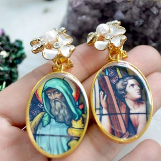 TIMBEE LO hand-made church window hood earrings a pair of pattern photos can be customized rectangular round drop