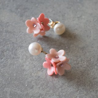 Freshwater pearl and flower backcatch earrings / pink