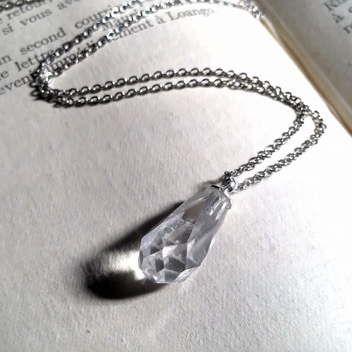 White crystal - Stainless Steel Necklace - Guardian