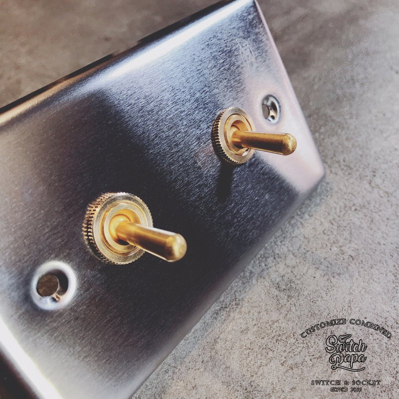 Stainless steel vintage brass switch 2 open