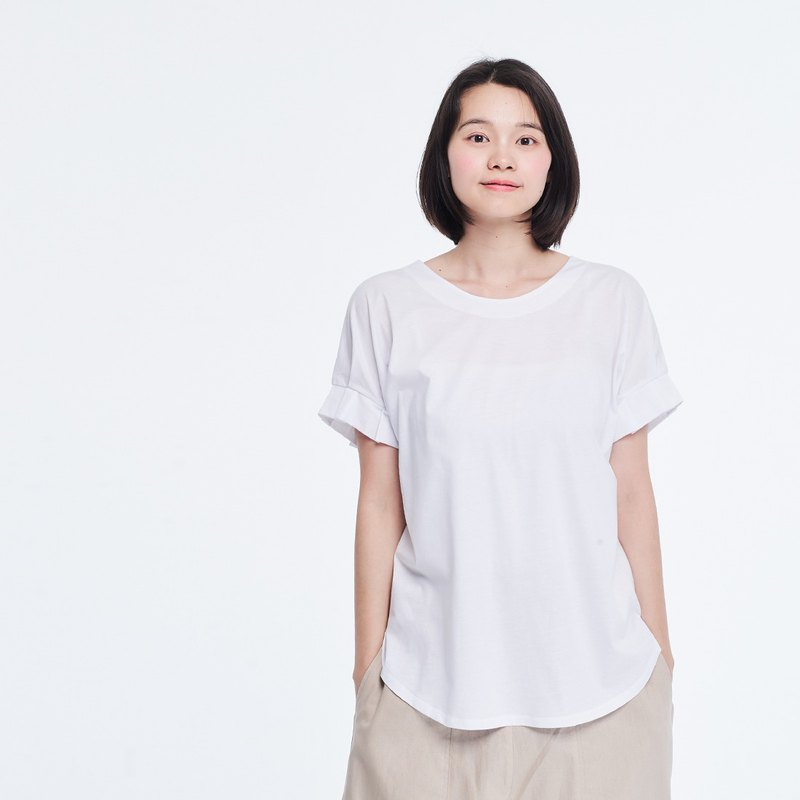 Mercerized Cotton Fabric Gathering Short Sleeves T-shirt Top White