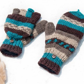 Hand-knitted pure wool knit gloves / detachable gloves / inner bristled gloves / warm gloves - blue Turkey