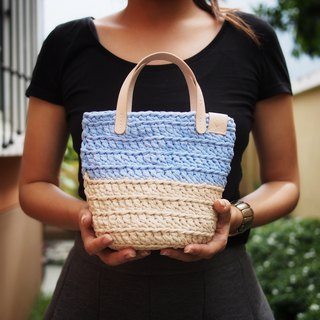 Handmade crochet mini bag two-tone (t-shirt yarn) with leather strap
