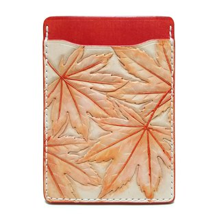 Marie / Mary genuine leather leather pass case / autumn leaves / periodic entry / hand dyed / carving