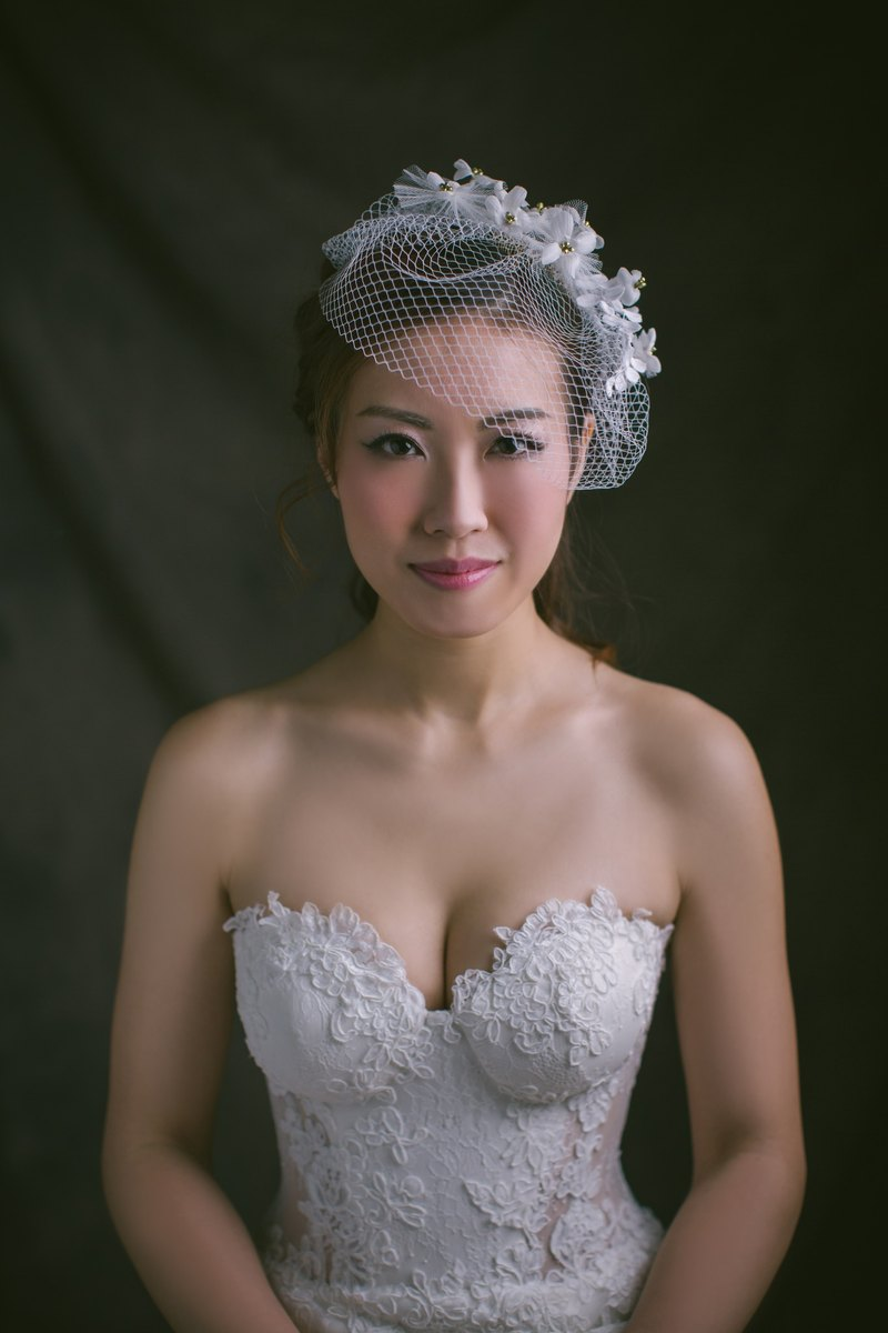 """Being of Love"" gorgeous handmade silk bridal headdress / short veil marriage accessories"