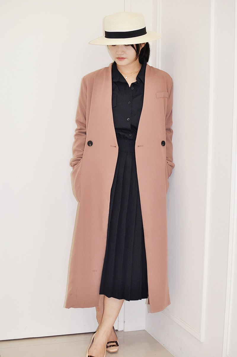 Flat 135 X Taiwan designer series blazer style lotus root pink big pocket long coat blouse