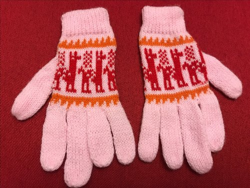 Long-sleeved glove finger smiled alpaca - Pink