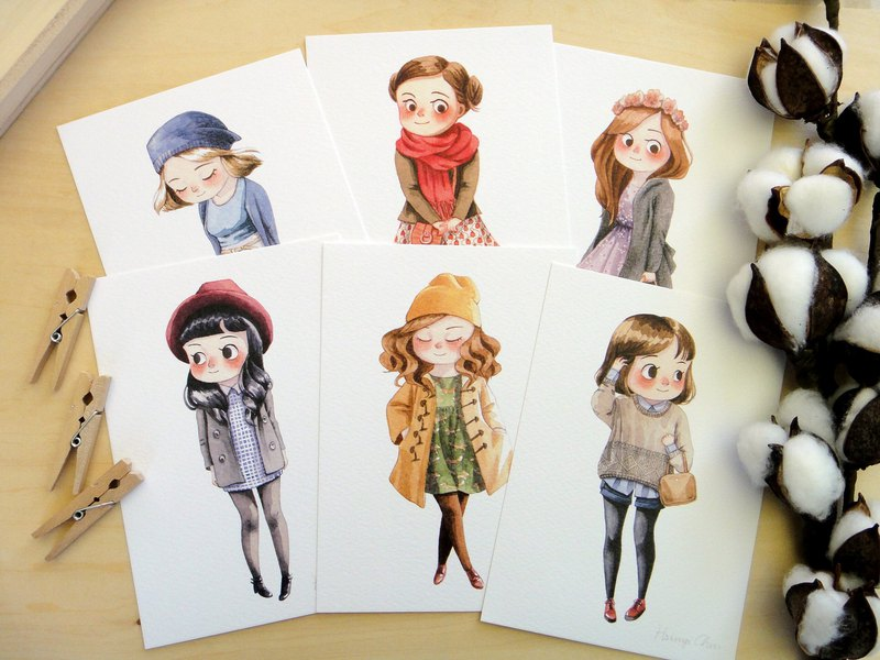 Winter Girls Illustrated Watercolor Postcards, Fashion, Mini Art Print, 6 Design