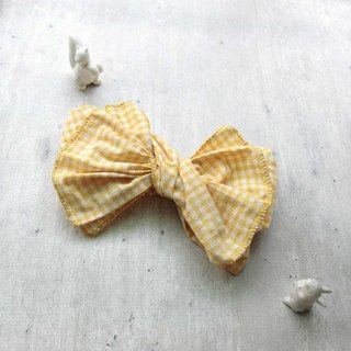 [Shell Art] Giant Butterfly Hair Band (Goose Yellow Plaid) - The whole strip can be taken apart!