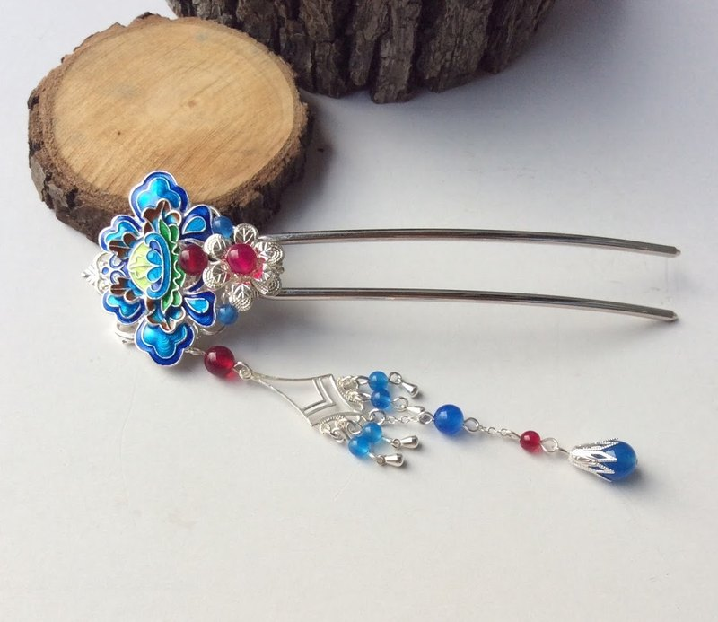 Hand-made ~ meow cloisonne hairpin (silver bottom / Rose Agate)