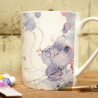 Watercolor - bone china mug / elephant / watercolor / romantic / confession / gift / can add custom name / microwave / through SGS