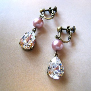 Silky Pearl & Swarovski Crystal Drop Earrings / ED : Pink