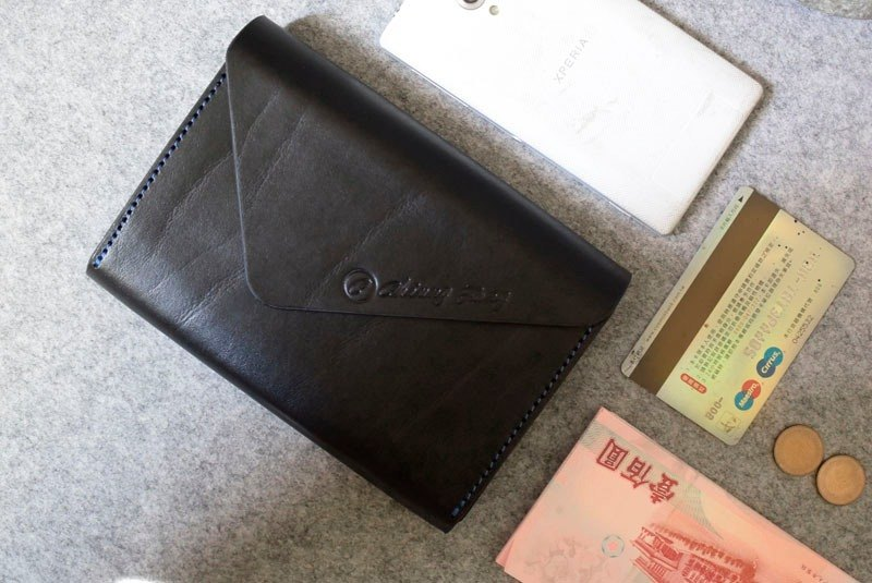 YOURS handmade leather envelope style long leather folder superstructure (invisible magnetic debit) personality black leather