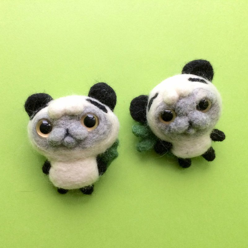 Aberdeen series of wool cat cat panda brooch