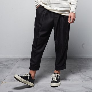 Stone@S Wild-Leg Trousers With Pleated / 褶子西褲 黑