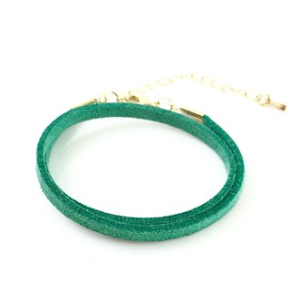 Green - suede roping bracelet (can also be used as a necklace)