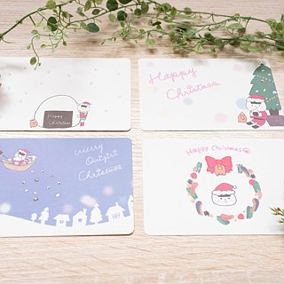 Four rice ball Christmas cards set