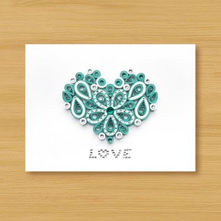 Hand-rolled paper stereo card _ Cherish LOVE - Tiffany Blue... Valentine card