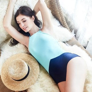 Au Debut One piece : Light Blue-Navy