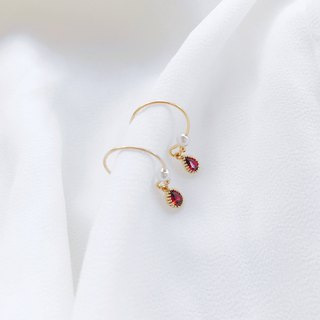 Classical Queen 14k gold ear hooks Pomegranate red fine zircons Pearl earrings