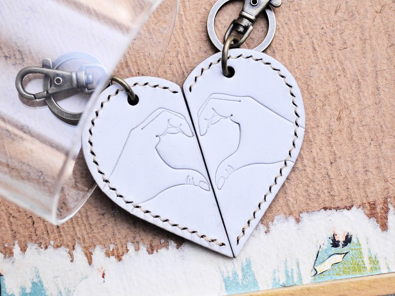 一人一半心形鑰匙圈 好好縫 皮革材料包 情人節禮物 植鞣革DIY