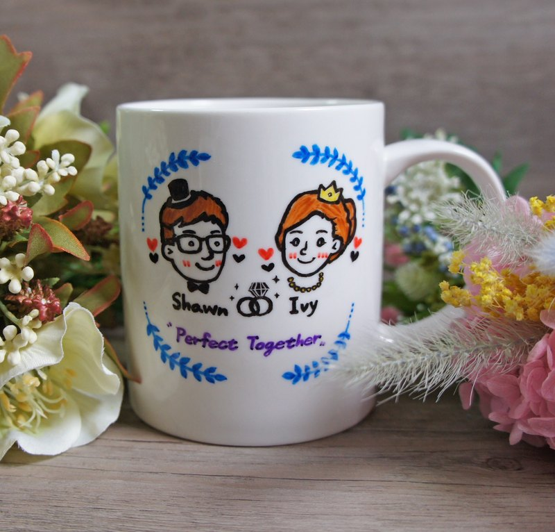 Wedding Memorial Valentine - Custom Q version portrait / witness beautiful love _ mug (free Christmas package Zhang)