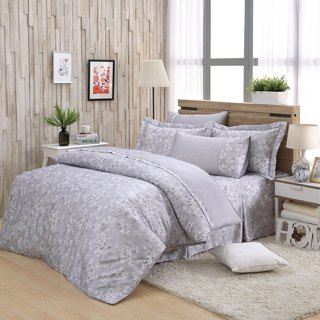 Double size fresh flower bud (grey) - Tencel dual-use bed cover six-piece group [100% lyocell]
