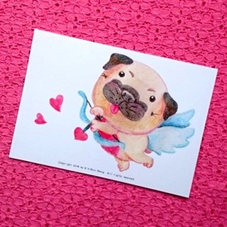 Pug postcard - Love is coming