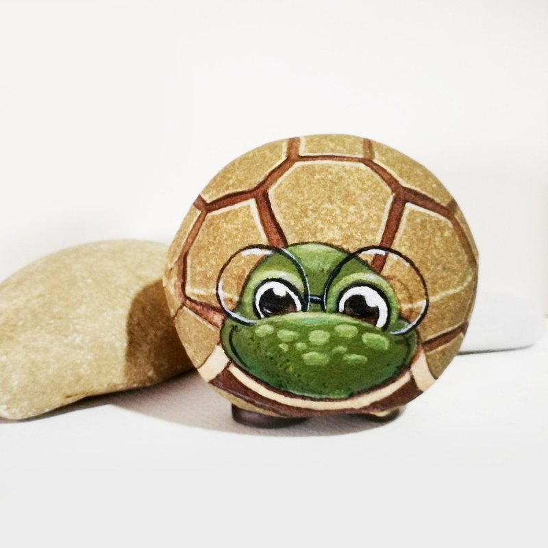 Turtle stone painting original art.