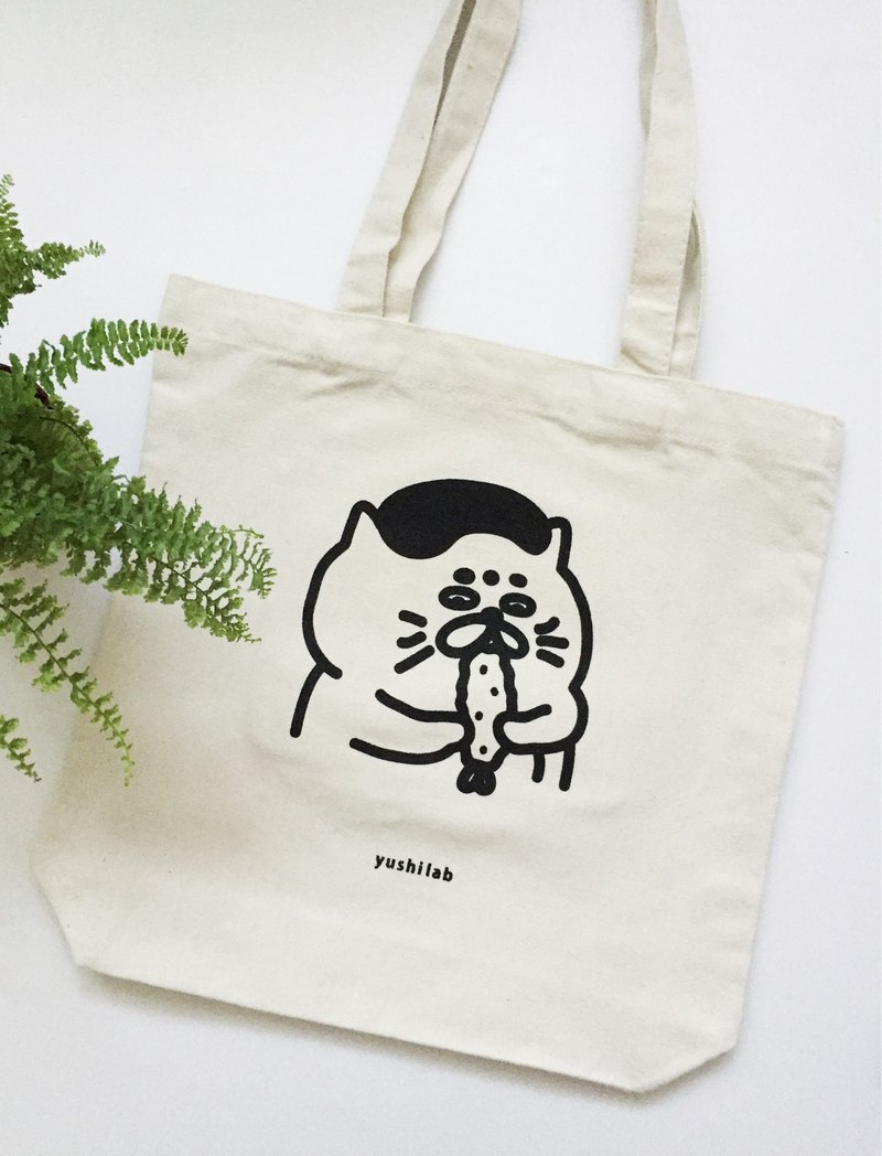M-type dark bag canvas bag - Shrimp Goro / handmade silk screen