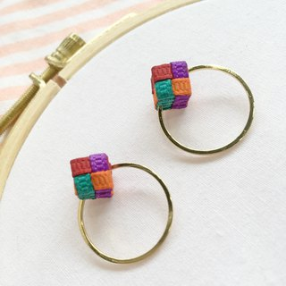 Woven / Pastel Color / Color Blocking / Hexagon / Earrings