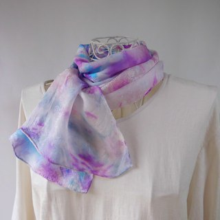 Tie dyeing · short silk · stall _ flower blooming in snow · purple _ 1