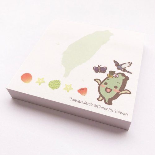 Thai Wonder Square Sticky Notes (White × Green - Taiwan Fruit)
