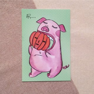 Pig post card - Hand Drawn