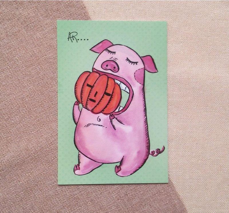小豬明信片-手繪
