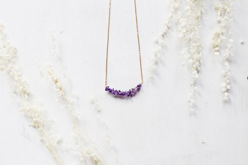 Classic style smile irregular natural stone Amethyst Amethyst short necklace (adjustable)