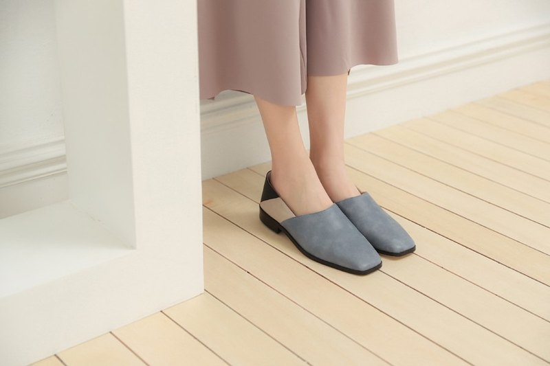 Beveled structure splicing square head slipper type leather shoes blue