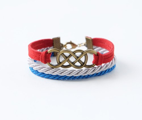 Brass double-infinity in Red suede / Light gray / Vivid blue