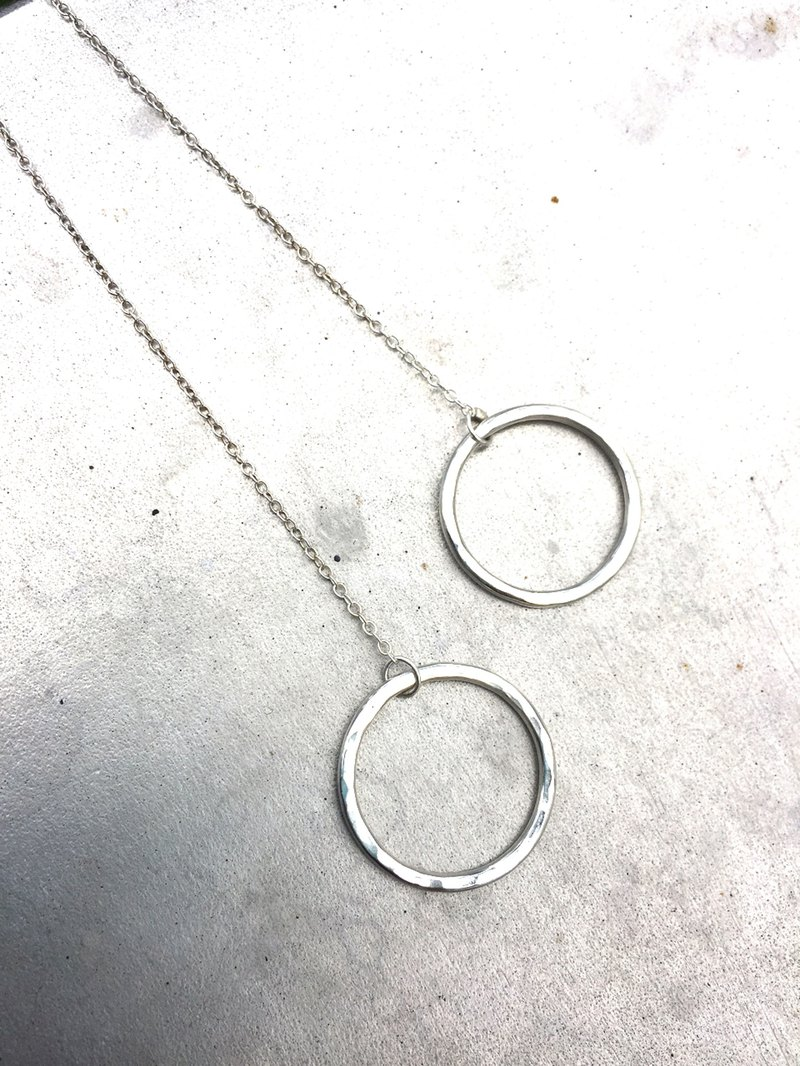 MIH Metalwork Jewelry | Chain Ring Sterling Silver Earrings Chain Circle sterling silver earrings