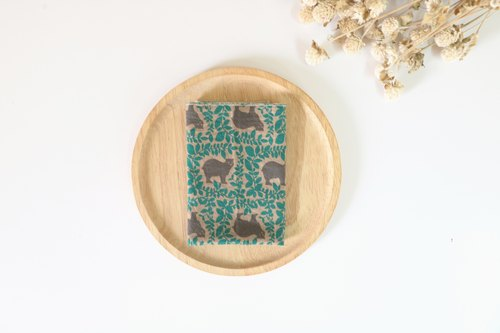 Green Forest Bear towel / handkerchief