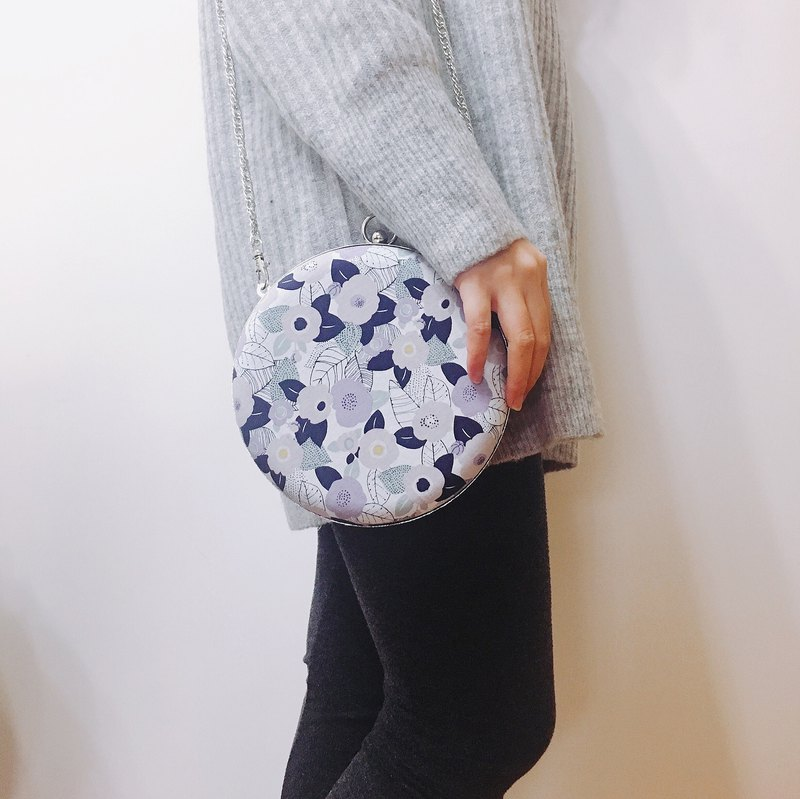 Elegant Camellia Small Round Bag - Handle / Crossbody