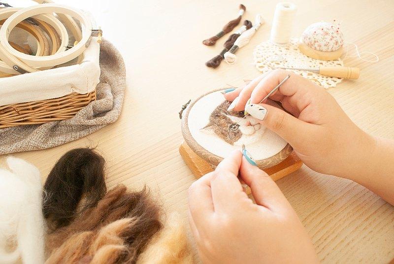 【學員限定】羊毛氈手作 - 擬真寵物貓刺繡框畫材料包