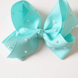 Bonbon Baby Temperament Pearl Handmade Bow Hair Clip #Tiffany