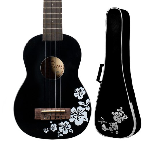 21 inch hibiscus flower color black cliff black Flora Soprano Ukulele / black