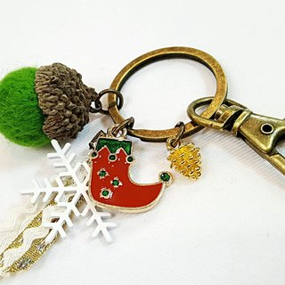 Paris*Le Bonheun. Happy forest. Christmas boots. Wool felt acorn pine cone key ring