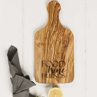British Naturally Med olive wood integrated with text round hole handle cutting board / board / display board