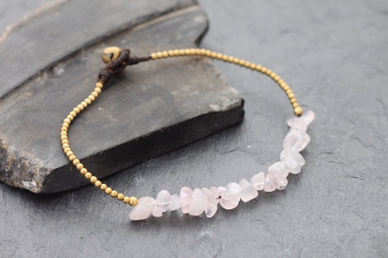Rose Quartz Minimal Stone Anklet Beaded Brass