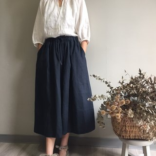 / The gods afternoon / elegant introverted dark blue wrinkles in the drawstring long skirt 100% hemp
